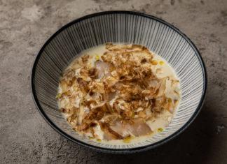 Крем-суп из сельдерея с морским гребешком и трюфельным соком